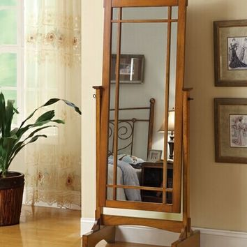 Warm oak finish wood mission style free standing cheval bedroom dressing mirror