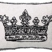 Crown Hand-Hooked Pillow - Decorative Pillows - Home Accents - Home Decor | HomeDecorators.com
