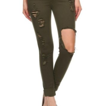 Destructive Nature Destroyed Pants Jeans - Olive