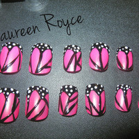 Pink Butterfly Nails