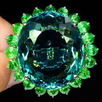 A 14K White Gold 64.88CT Oval Cut Blue Aquamarine Green Emerald Accented Ring