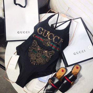 GUCCI Cat One Piece Bikini Swimsuit Bathing Suits
