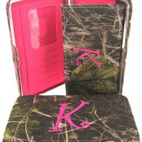 "Soft Camo Initial "" K "" Thick Flat Wallet Clutch Purse Hot Pink Camoflauge"