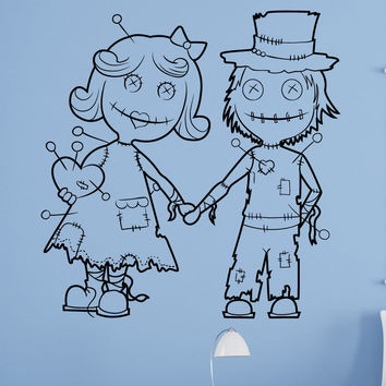 Vinyl Wall Decal Sticker Voodoo Doll Couple #1513