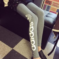 """Adidas"" Women Sport Casual Clover Letter Print Tight Yoga Leggings Pants Trousers Sweatpants"