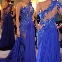 blue Prom Dress,long Prom Dress,one shoulder Prom Dress,2016 prom dress,evening dress,PD401