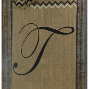 Monogram Chevron Bow Burlap Door Sign - Wall decor