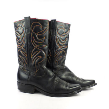 Black Cowboy Boots Vintage 1980s Leather Texas Brand men's size 7 1/2 D