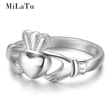 MiLaTu Irish Jewelry 100% 925 Sterling Silver Claddagh Rings Hand Love Heart Crown Ring Women Wedding Ring Free Box R024S