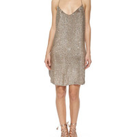Haute Hippie Sequined T-Back Mesh Dress, Suntan