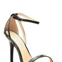 Black Faux Patent Leather Ankle Strap Single Sole Heels