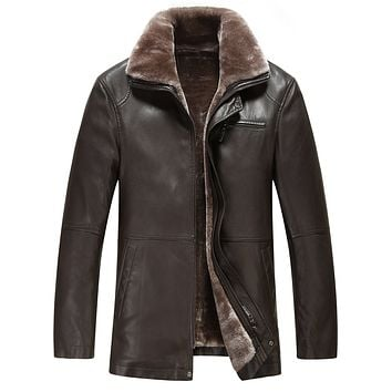2016 Winter Fur Coat leather jacket male sheep skin leather winter coat men integrated pile with thick warm jacket