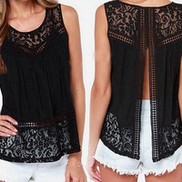 S-4XL Summer Women Chiffon Crochet Lace vest Blouse Shirt Sexy Open Back sleeveless shirts tank tops Black Blusas Femininas