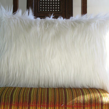 White fur pillow covers 12 X 20 decorative white fur white linen pillow cover ONE