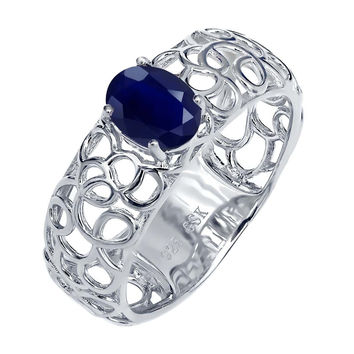 1.02 Ct Oval Blue Sapphire 925 Sterling Silver Ring