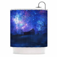 "Viviana Gonzalez ""Beginning"" Blue Galaxy Shower Curtain"