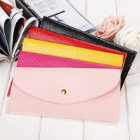 Women Candy Color Envelope Clutch Bag Thin Wallet Purse Card Holder  7_S