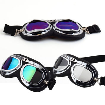 Vintage Anti-UV Motorcycle Scooter Pilot Goggles Helmet glasses Motocross = 1945921220
