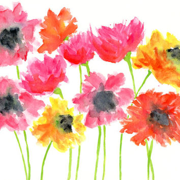 Flower watercolor painting, flower art, original flowers, abstract flowers, colorful flower art, flower nursery art, baby girl room, 10X8