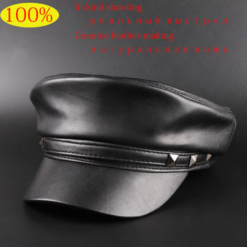 Direct Selling New 2017 Spring Sheepskin Hats Genuine Leather Casual Thermal Men Military Hat Short Brim Cadet Adult Cap Women