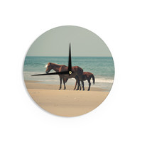 "Robin Dickinson ""Sandy Toes"" Beach Horses Wall Clock"