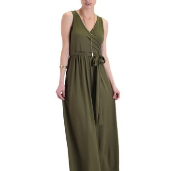 Lyss Loo All Mine Sleeveless Crossover Olive Wrap Maxi Dress