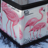 Kitschy Pink Flamingo Hex Frame Lampshade  Natural White Cotton Fabric  Black Eyelash Fringe Trim, Black Grosgrain Ribbon, Black Piping