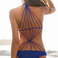 Blue Strappy Stretch Monokini