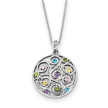 Sterling Silver CZ Kaleidoscope Of Wishes 18in Necklace