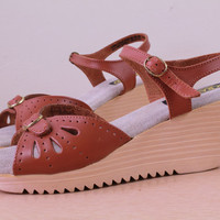 intage - 70s - Brown Leather - Cut Out - Platform - Wedge - Ankle Strap - Sandals - Shoes - 9.5/10 - Rapallo - NWOT - Deadstock - Italy