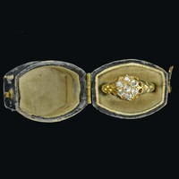 18K Gold Antique Diamond Cluster Ring