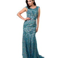 1930s Style Hunter Green Lace Beaded Mermaid Evening Gown