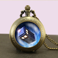 Doctor Who Tardis Locket necklace,Doctor Who Pocket Watch Necklace, Dr Who masters fob watch locket necklace