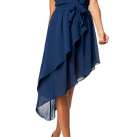 ROMWE Self-tied Belt Oblique Pleats V-neck Blue Dress