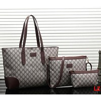 Perfect Gucci Women Fashion Leather Satchel Tote Shoulder Bag Crossbody Wallet Three Piece Set