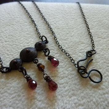 ArtNouveau Tribal Dome Garnet Teardrop Briolettes Hand Antiqued Necklace