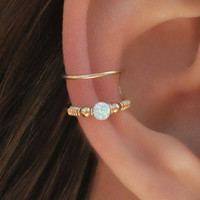 DOUBLE WRAP CUFF, White Opal Ear Cuff, Ear Cuff, Fake Piercing, No Piercing, Double Cuff, Cartilage Cuff, Cuff