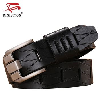 Grid man belt genuine leather belts luxury strap male belt for men new fashion vintage pin buckle designer