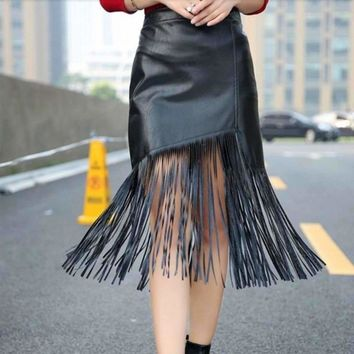 High Waist Women Leather Tassels Pencil Skirt