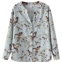 V-Neck Bird Printed Blouse
