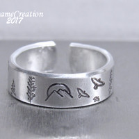 Mountain Ring - Nature Jewelry - Mountains Jewelry - Stamped Ring - Stamped Mountains - Stamped Birds - Hand Stamped Jewelry