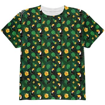 Tropical Toucan Rainforest Repeat Pattern All Over Youth T Shirt