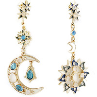 ROMWE | ROMWE Moon&Sun Shaped Pendant Earrings, The Latest Street Fashion