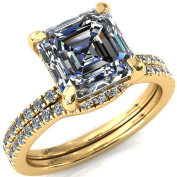 Mayeli Asscher Moissanite 4 Claw Prong Micro Pave Diamond Sides Engagement Ring