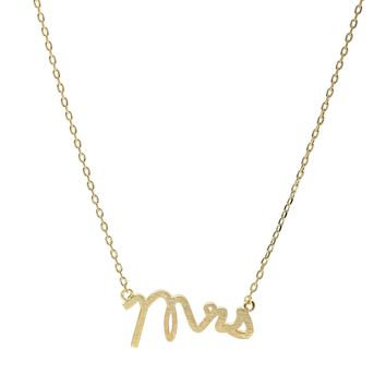 Handcrafted Brushed Metal Mrs Script Necklace