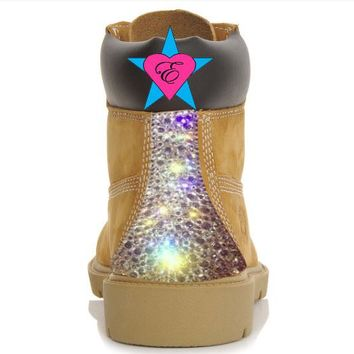 Custom Crystal Wheat Timberland Boots | Sparkly Bling Tims