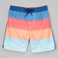 Orange & Blue Stripe Boardshorts - Infant, Toddler & Boys