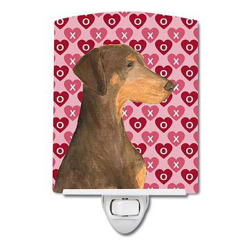 Doberman Hearts Love and Valentine's Day Portrait Ceramic Night Light SS4479CNL