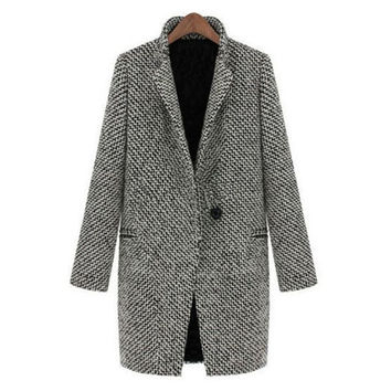 Vintage Women Long Coat Parka Jacket Trench Wool Blends Lapel Outwear LE2 SM6