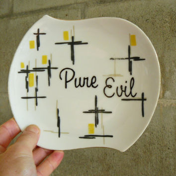 Pure Evil hand painted vintage plate with hanger